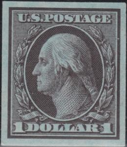 #342TC1e 1908  WASHINGTON $1 BROWN ON BLUE TRIAL COLOR DIE PROOF WL733A