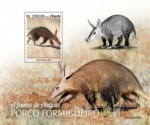 Angola - 2019 Aardvark on Stamps - Stamp Souvenir Sheet - ANG190209b