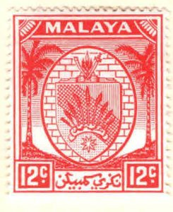 MALAYA Negri Sembilan Scott 47 MH* coat of arms stamp, Palm Trees