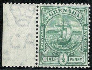 GRENADA KE VII 1906 1/2d GREEN MARGIN MINT (NH) SG77 Wmk.CROWN CA P.14 SUPERB