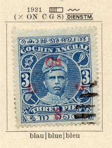 Cochin 1918-22 Early Issue Fine Used 3p. Optd 322454