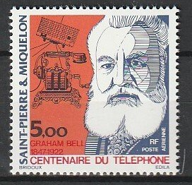 1976 St. Pierre and Miquelon - Sc C60 - MNH VF - 1 single - AG Bell/telephone