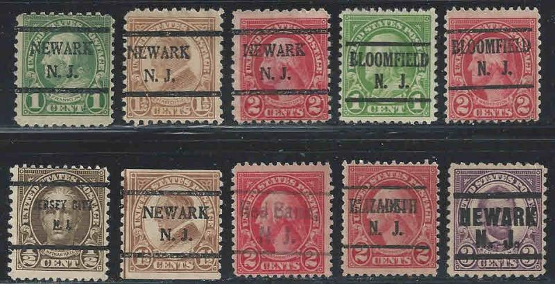 United States ~ Lot of 10 Different New Jersey Precancels
