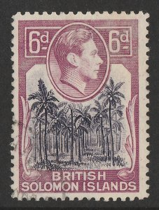 SOLOMON ISLANDS 1939 KGVI Pict 6d, ERROR wmk 'C' instead of 'CA' CERTIFICATE
