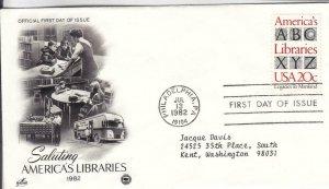 1982, Saluting America's Libraries, Artcraft, FDC (E7546)