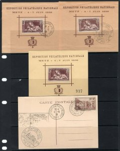France 1938 Metz Philatelic Exposition 4 Different Souvenir Cards/Sheets. Look!