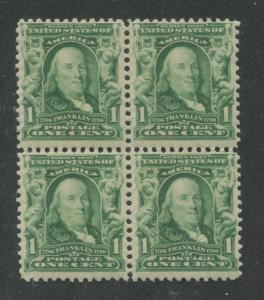1903 US Stamp #300 1c Mint Never Hinged F/VF Block of 4 Wmk. 191 Perf. 12