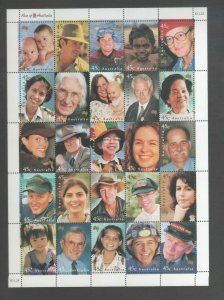 Australian Mint Stamp Yearbook 2000 Faces of Australia Sheet Mint MUH FREE POST