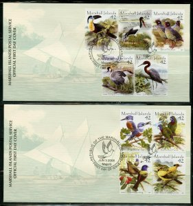 MARSHALL ISLANDS 2008  BIRDS SET ON FIVE FIRST DAY COVERS