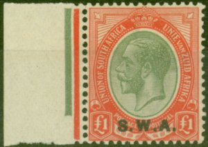 South West Africa 1927 £1 Pale Olive-Green & Red SG57