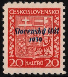 ✔️ SLOVAKIA 1939 - SLOVENSKY STAT OVERPRINT - SC.4 MNH OG [SK004]