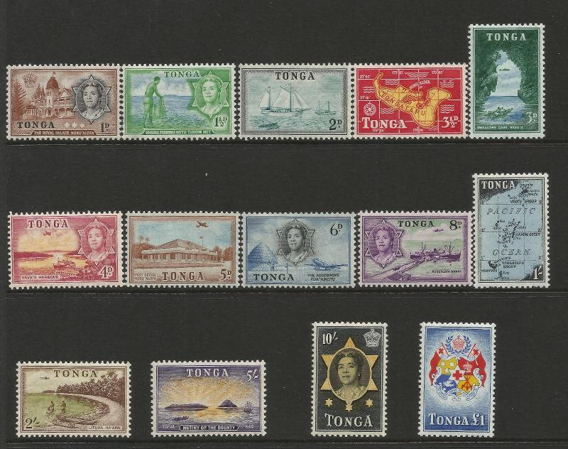 Tonga 1953 QEII Definitive set complete SG101-114 unmounted mint