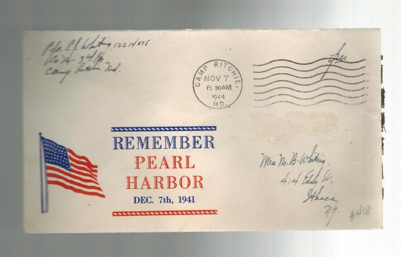 1944 USA Patriotic Cover Camp Ritchie MD to Ithaca Remember Pearl harbor