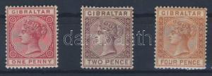Gibraltar stamp Mi 9a, 10, 12 Hinged 1886  WS103765