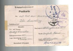 1944 Germany Stalag 18 A Prisoner of War POW Postcard Cover Australia W Dunshea