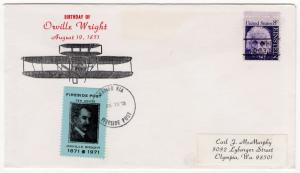 (I.B) US Cinderella : Orville Wright Birthday Cover (Fireside Post 10c)