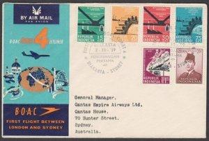 INDONESIA 1959 BOAC first flight cover to Sydney Australia..................N421