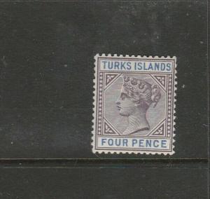Turks islands 1893/5 4d MM SG 71