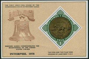 Samoa 437,MNH.Michel Bl.11. INTERPHIL-1976. American Bicentennial Gold Coin.
