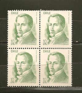 Chile D. Portales 10Cts Green Issue Block of 4 MNH