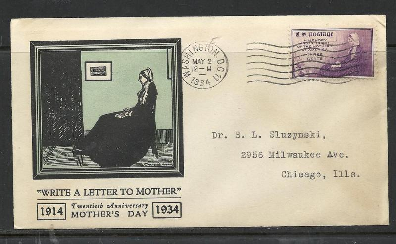 US #737-29a Mothers Day Linprint cachet addressed