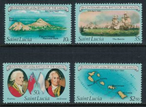 St. Lucia #583-6* NH  CV $6.65  Battle of the Saints issue