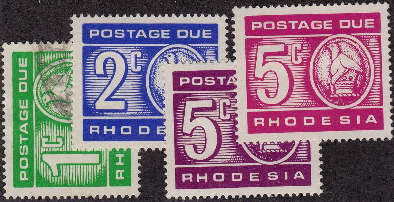 RHODESIA Scott # J15 Used, J16-J17 MH remnants, 2 colors J17 (4 Stamps)