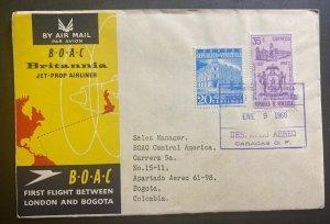 1960 Caracas Venezuela First Flight Cover FFC To Bogota Colombia BOAC Jet Liner