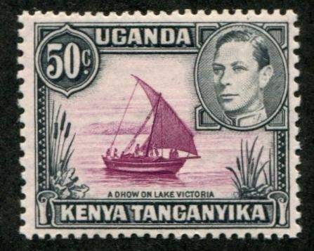 Kenya, Uganda & Tanganyika - KUT SC# 79d SG# 144c Brown Purple & Black MH