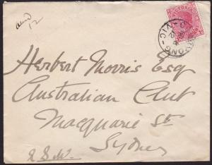 VICTORIA AUSTRALIA 1912 cover CORRYONG cds to Sydney........................7022