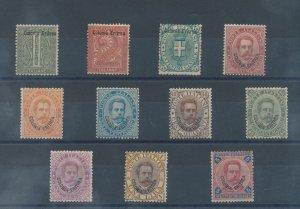 1893 Eritrea, Re Umberto I ° Soprastampati 'Colonia Eritrea' , N° 1/11, 25 C