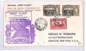 TRINIDAD & TOBAGO First Flight Cover Air Mail CONGO USA New York 1941 BN302