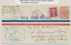 CANAL ZONE 1929 SCARCE 2c ENVLEOPE+25c AIR ADD.+CACHET & CENTERED VIA AIRMAIL