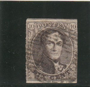 Belgium  Scott#  6  Used  (1851 King Leopold)