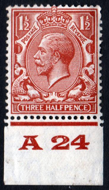 GB KGV 1924 1.5d Red-Brown SG420 Control A24 Mint Hinged