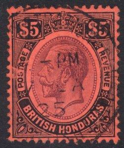 British Honduras 1924 $5 Purple & Black on red Scott 104 SG 125 FU Cat $275