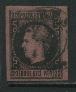 Romania 1866 20 pa black on pink thick paper used