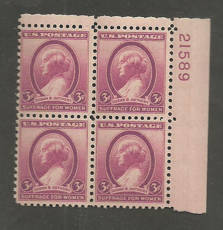 784 Susan B Anthony Plate Block NH 21589 HipStamp