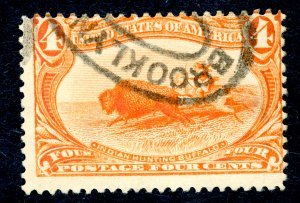 US #287 1898 4c Trans-Mississippi Exposition. Used Fine Clear Cancel.