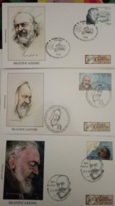 Padre Pio Collection, joint FDCs Italy, San Marino, Vatican ed. limited numbered