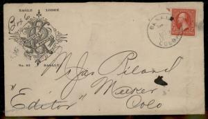 USA Colorado BASALT COLO Knights of Pythias Cancel Only Used 1902 Cover 88066