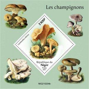Niger 2021 MNH Mushrooms Stamps Fungi Cantharellus Mushroom Nature 1v S/S