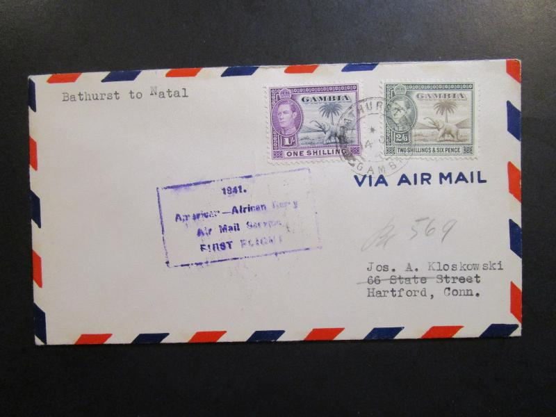 Gambia 1941 First Flight Cover to Natal - Z6330