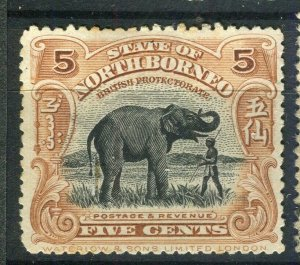 NORTH BORNEO; 1909 early pictorial issue fine used 5c. value