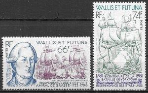 Wallis and Futuna Islands Battle of Yorktown, Ships of 1981, Scott 274-275 MVLH