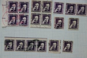 US 1294 1350c$1 Eugene O'Neill tagged untagged tag omitted wet dry plate block