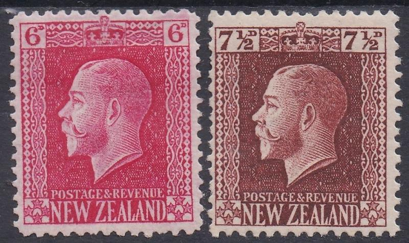 NEW ZEALAND 1915 KGV 6D AND 71/2D PERF 14