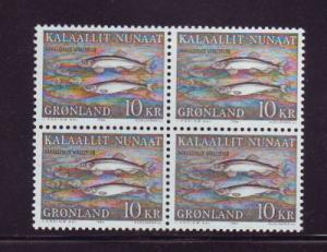 Greenland Sc 139 1986 10 kr Capelin stamp block of 4 mint NH