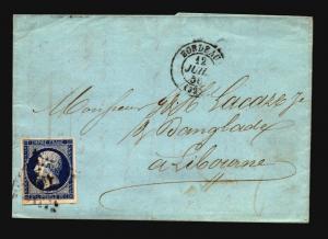 France 1856 Letter Cover / Bordeaux CDS - Z15712