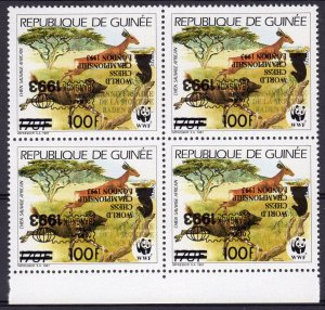 Guinea 1993  WWF ovpt.World Chess-Scouts Black INVERTED Block of 4 MNH !!!!